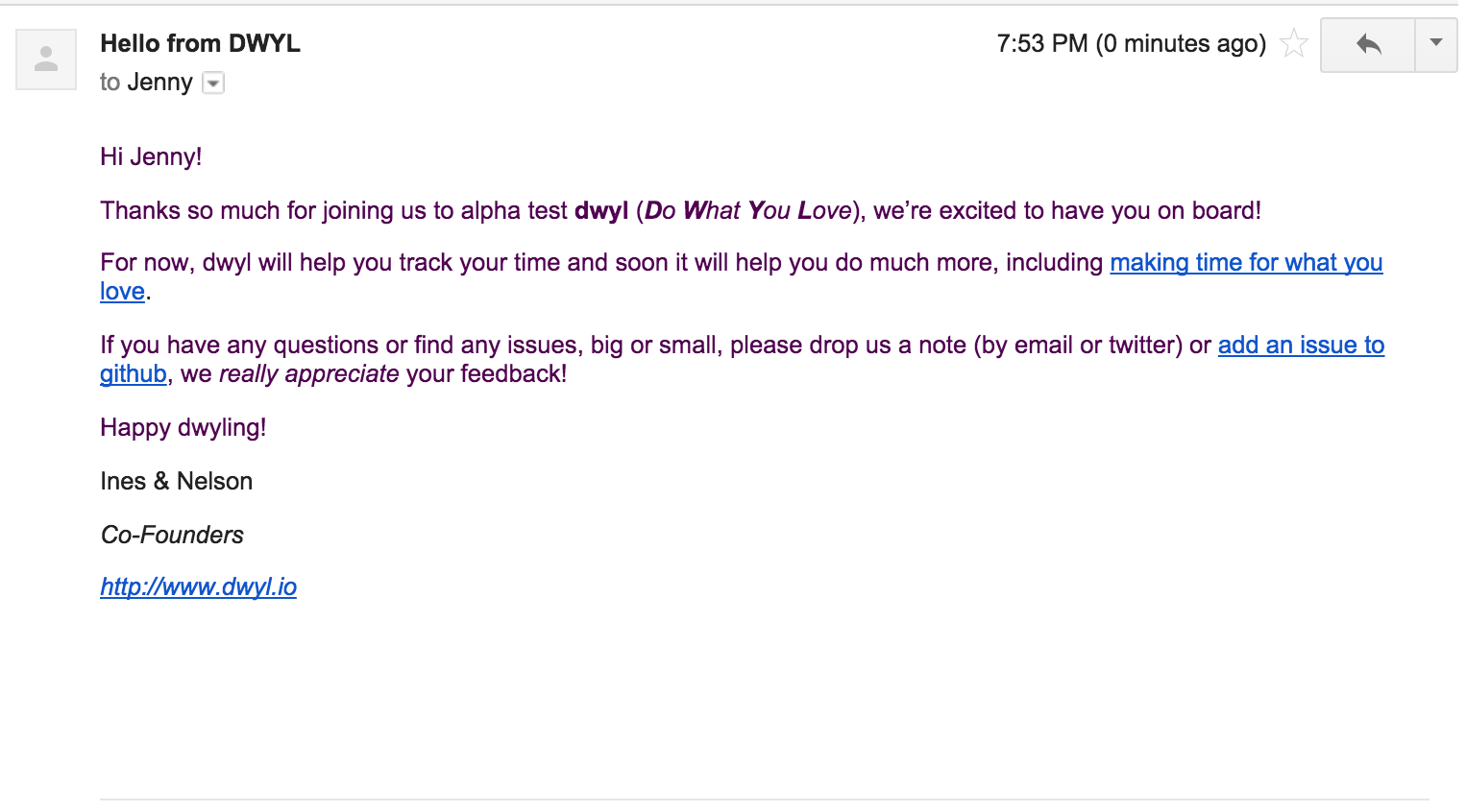 example dwyl welcome email
