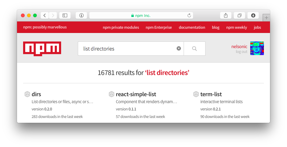 npm-search-list-directories
