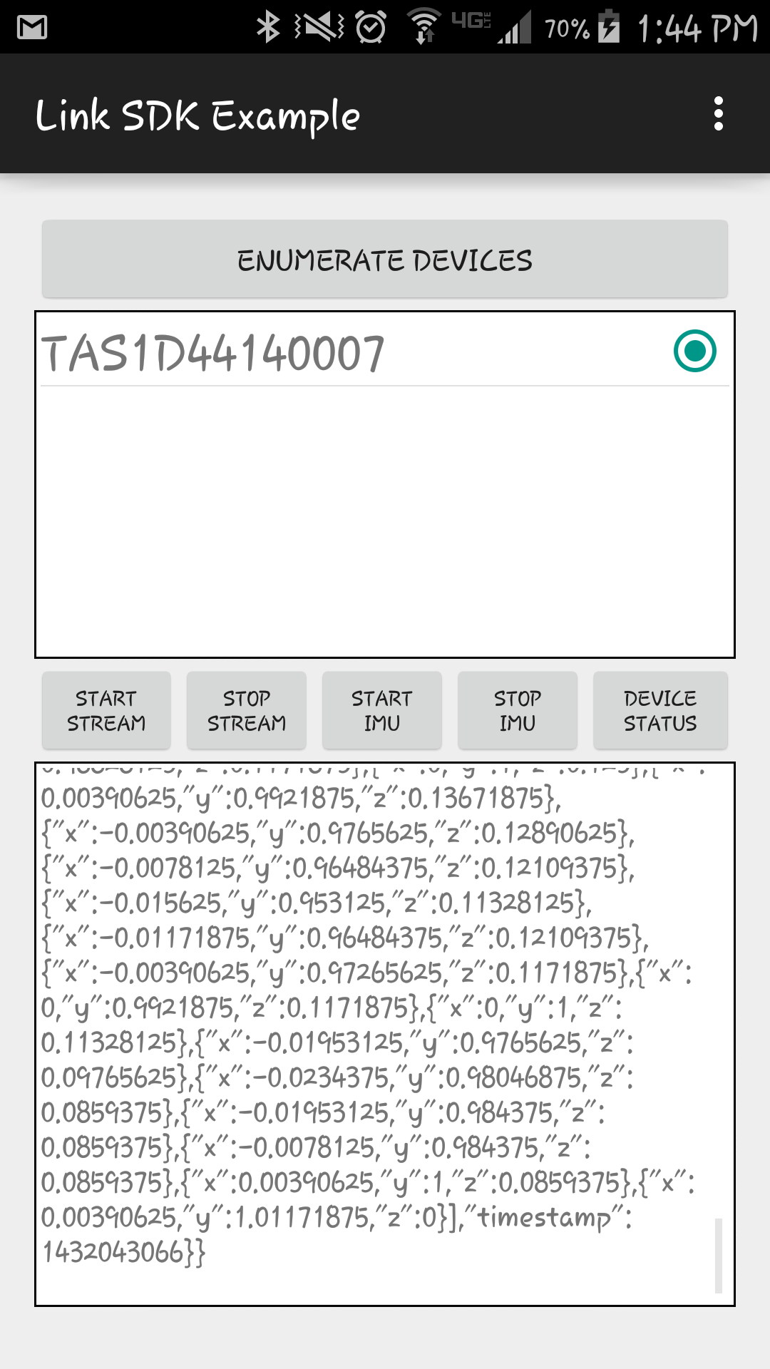 Sample app screen capture of raw data streaming
