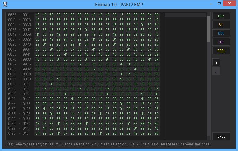 Binmap unformatted data