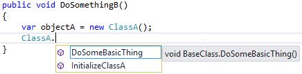 Visual Studio 2013 - viewing ProjectA.ClassA's Intellisense menu from ProjectB.ClassB