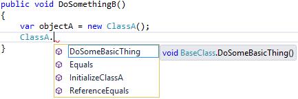 Visual Studio 2015 - viewing ProjectA.ClassA's Intellisense menu from ProjectB.ClassB