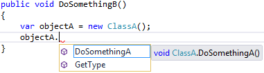 Visual Studio 2015 - viewing objectA's Intellisense menu from ProjectB.ClassB