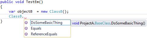 Visual Studio 2015 - viewing ProjectB.ClassB's Intellisense menu from ProjectC.ClassC