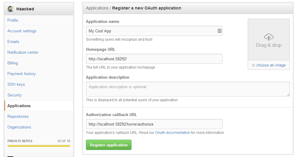 application registration