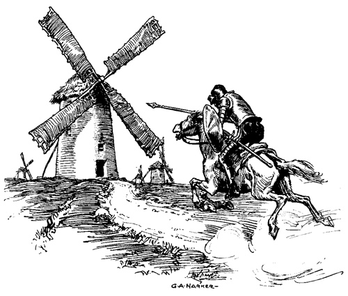 Don Quixote charging the windmills by Dave Winer CC BY-SA 2.0