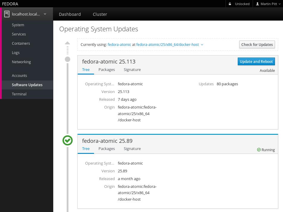 Screenshot of Software Updates on Atomic