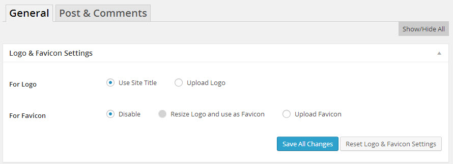 Logo and Favicon Settings