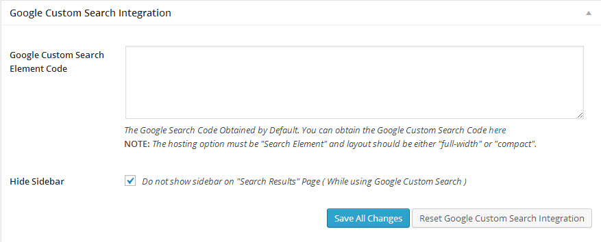 Google Custom Search Integration