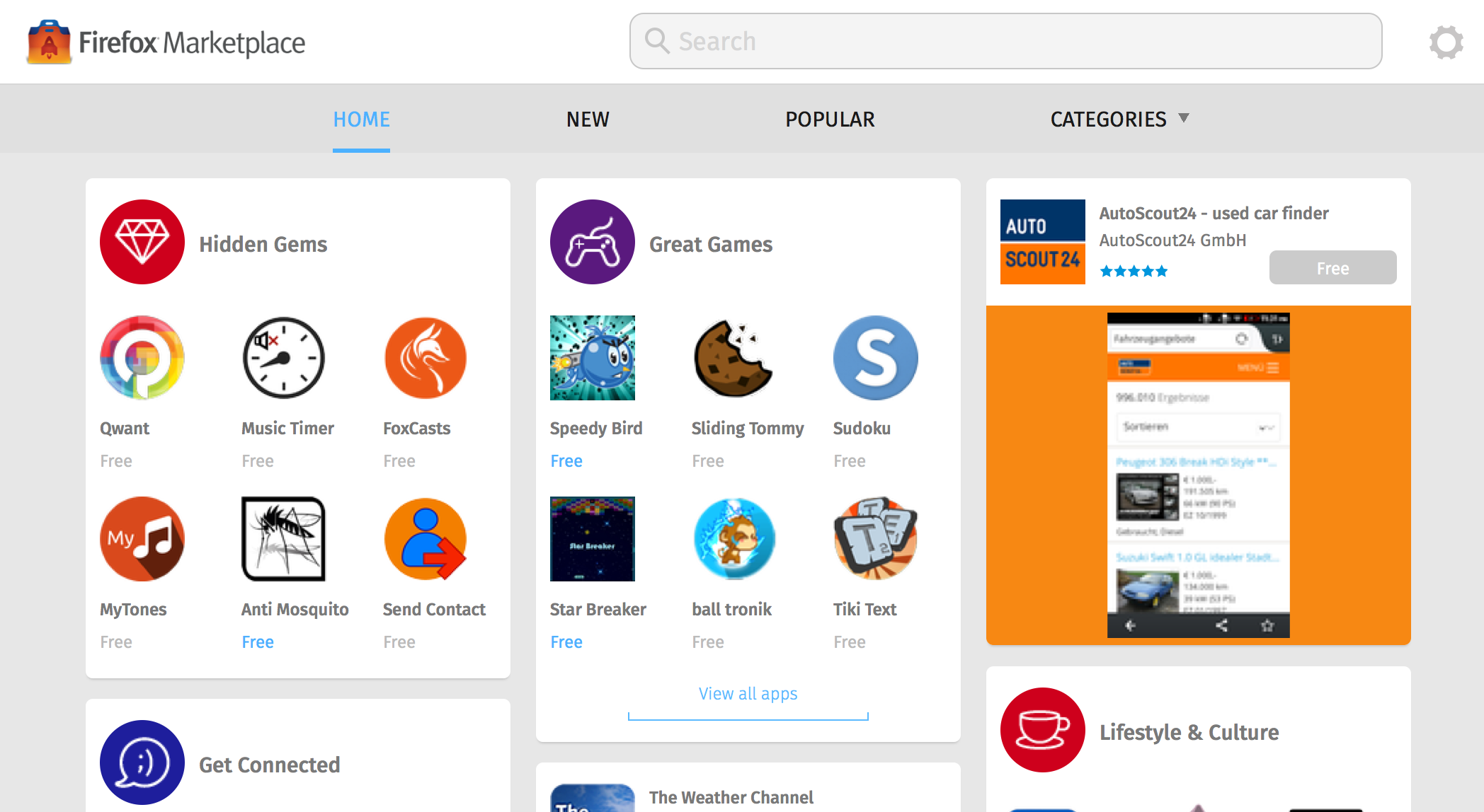 screenshot of Marketplace homepage