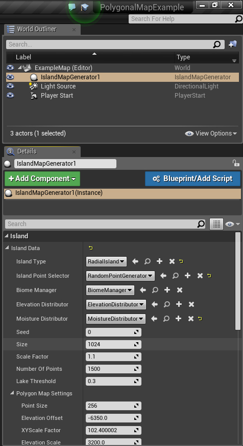 An example settings panel
