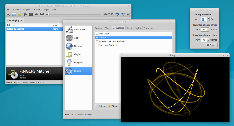 Screenshot of Infinity Settings