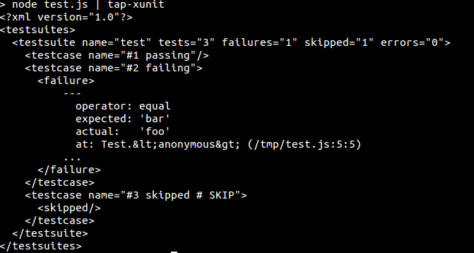 console window showing tap-xunit example