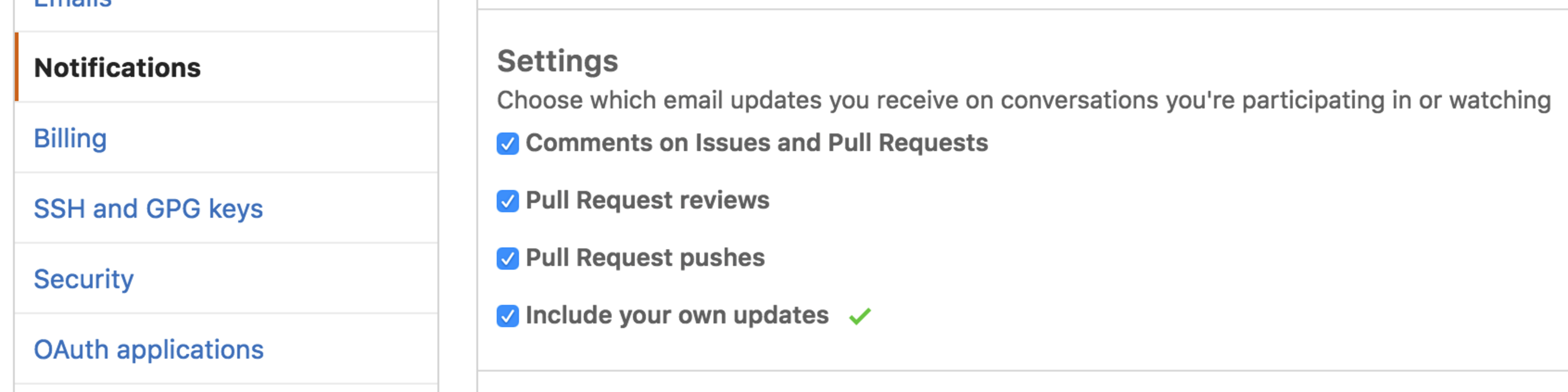 Different options for configuring the email notifications you receive