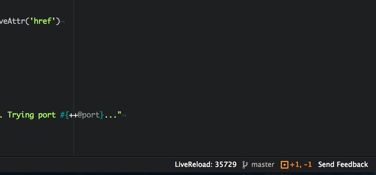 LiveReload status text