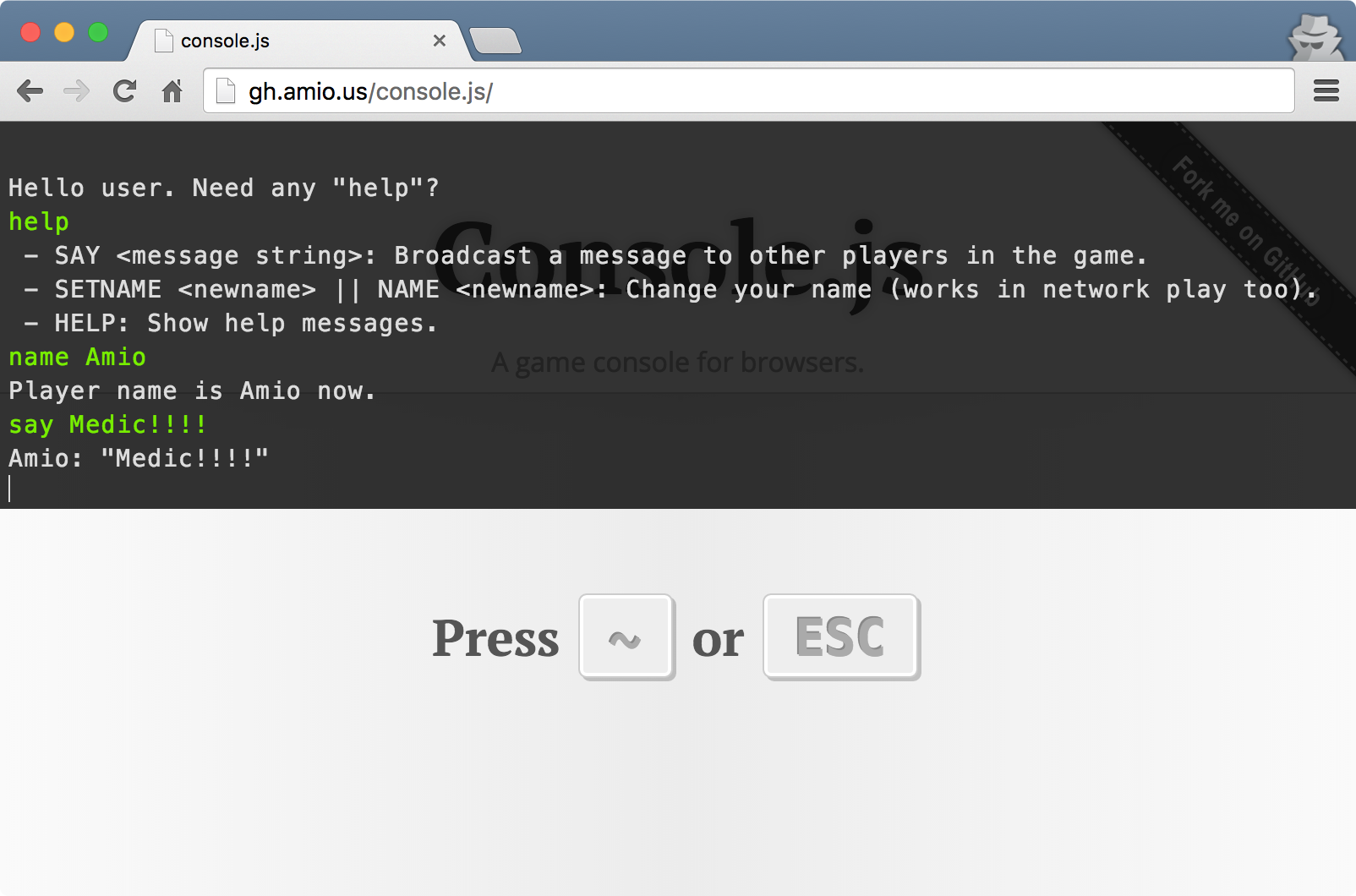 Console.js in browser