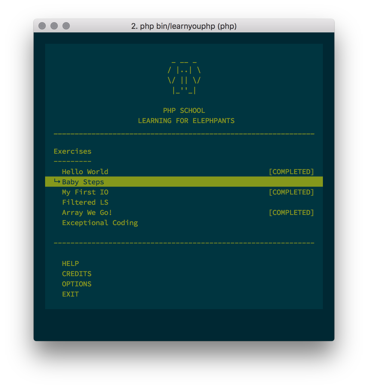Learn You PHP CLI Menu