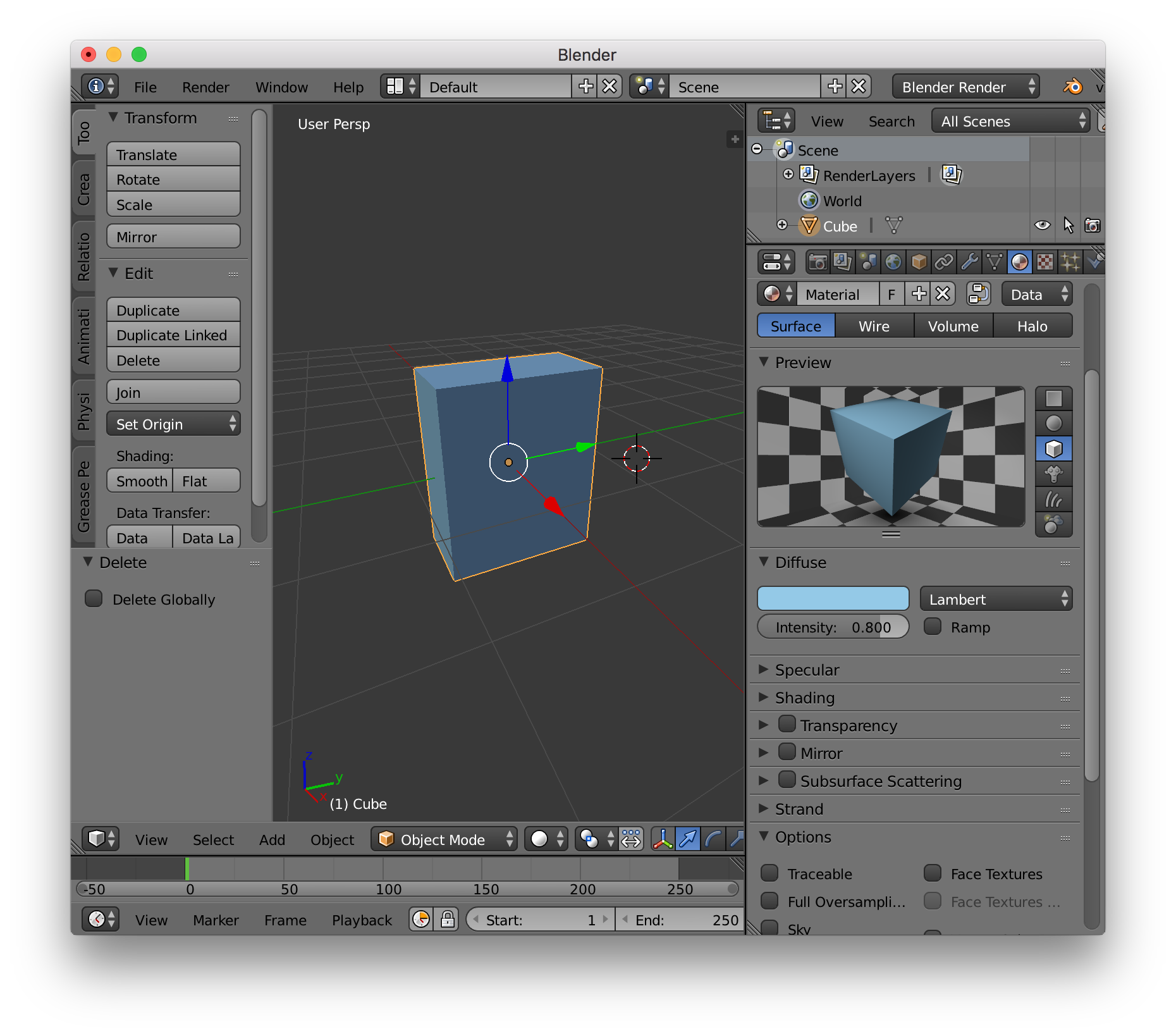 cube setup in blender