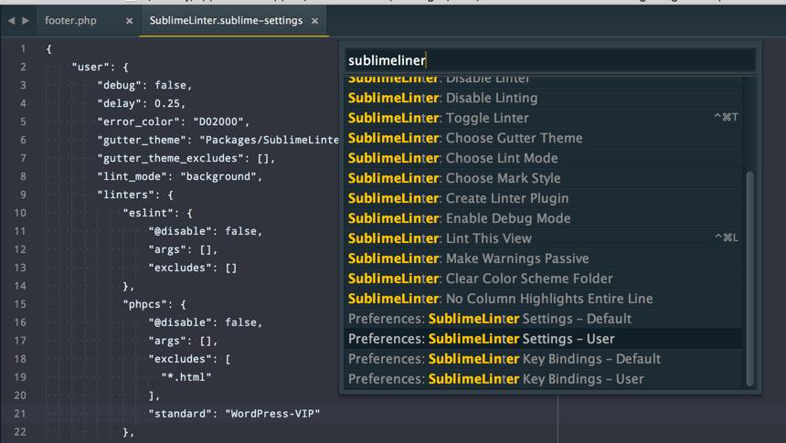SublimeLinter-phpcs user settings