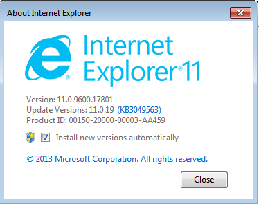 ie 11 version