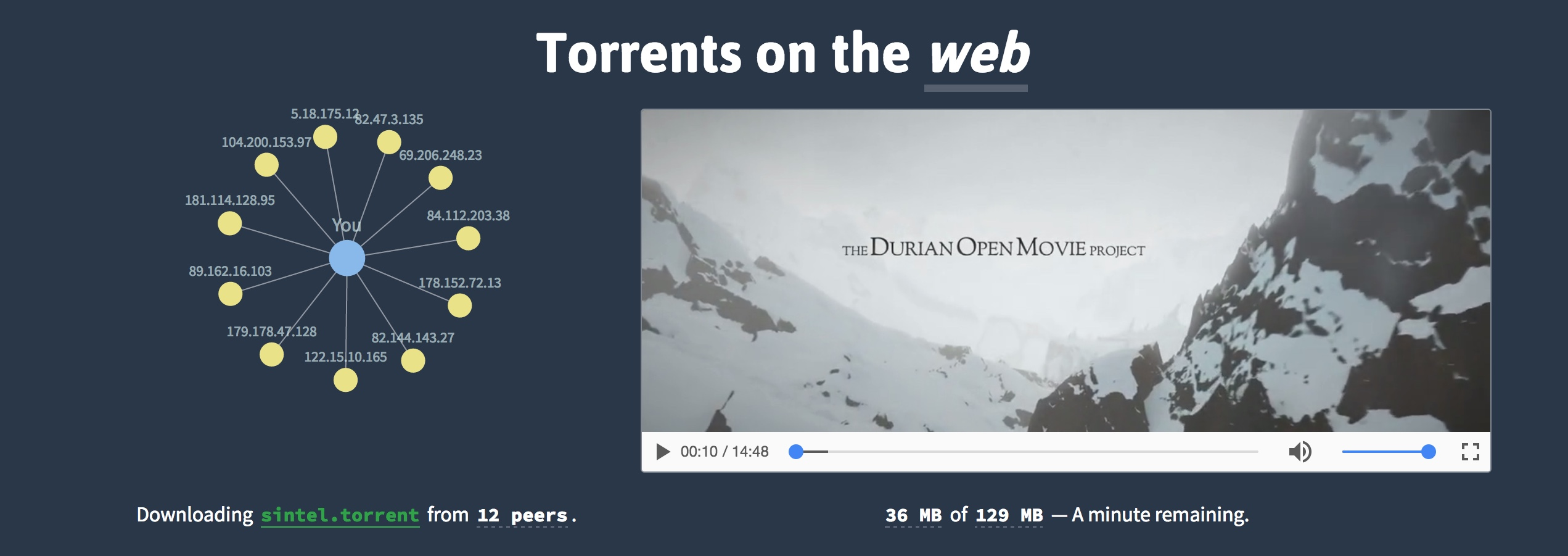 webtorrent homepage
