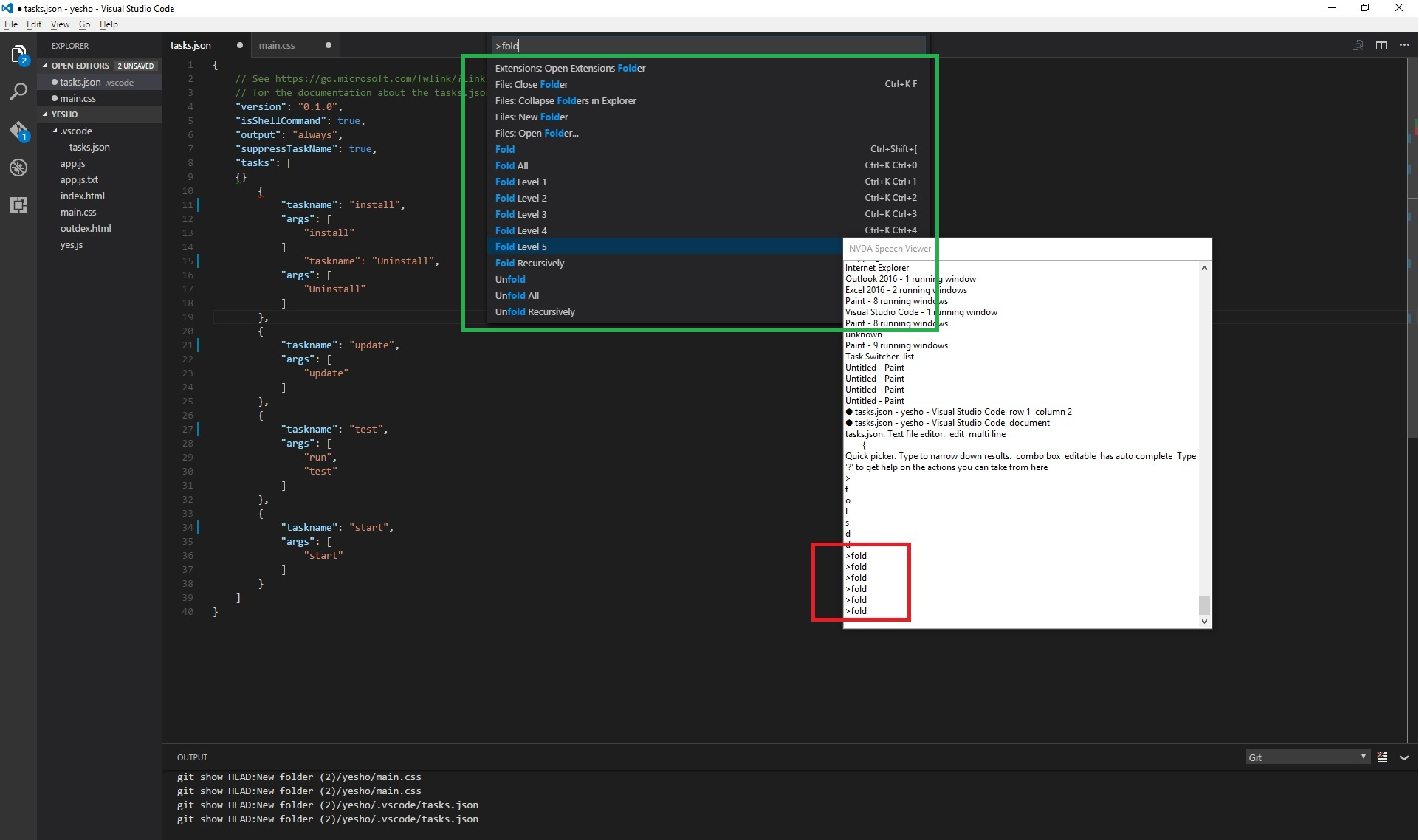 nvda announces the command in the command pallete for all options displayed by command pallete