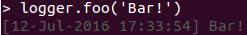 Screenshot of default behaviour of undefined log levels