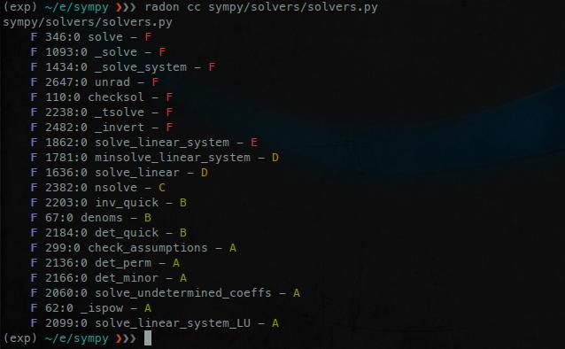 A screen of Radon's cc command
