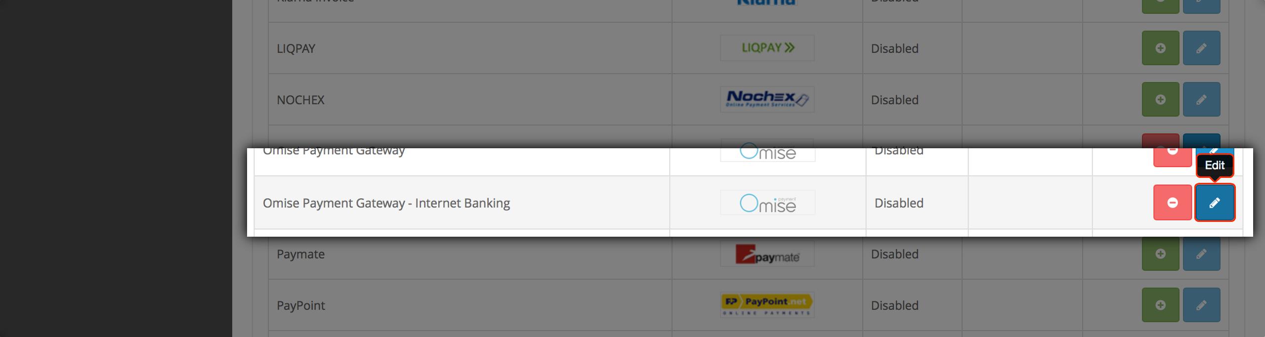 Configure Omise Payment Gateway - Internet Banking extension
