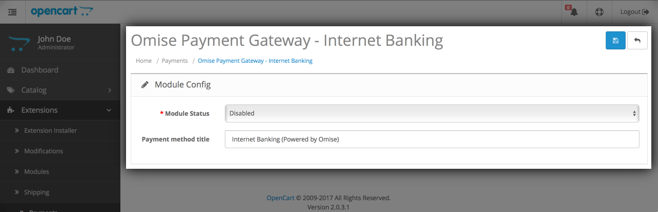 Omise Payment Gateway Internet Banking setting page