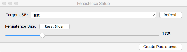 persistence setup window with usb selected