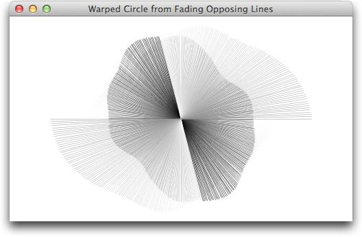 Warped Circle from Fading Opposing Lines