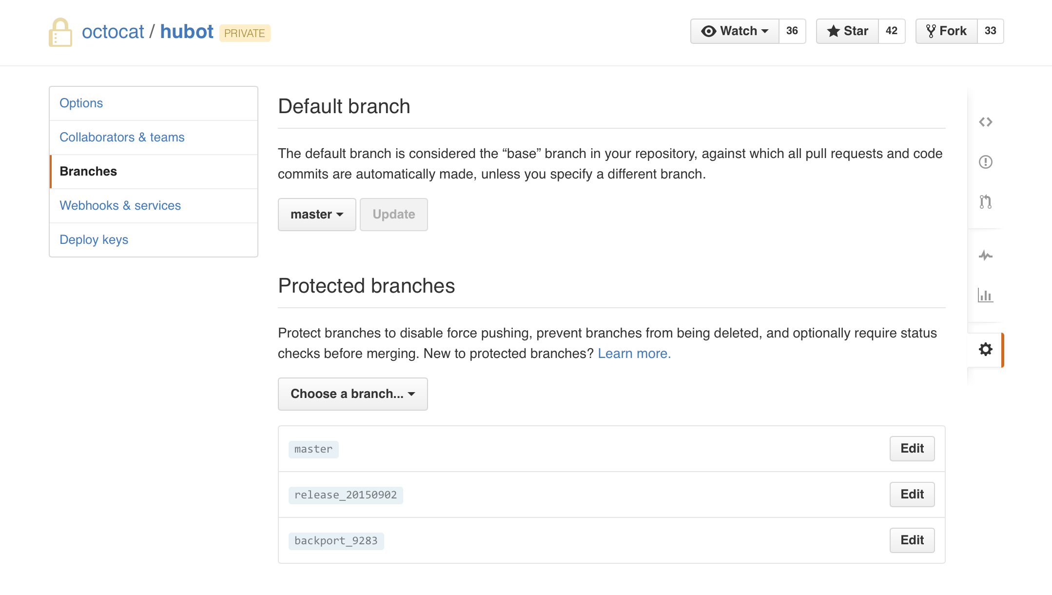 Repository Branches settings page
