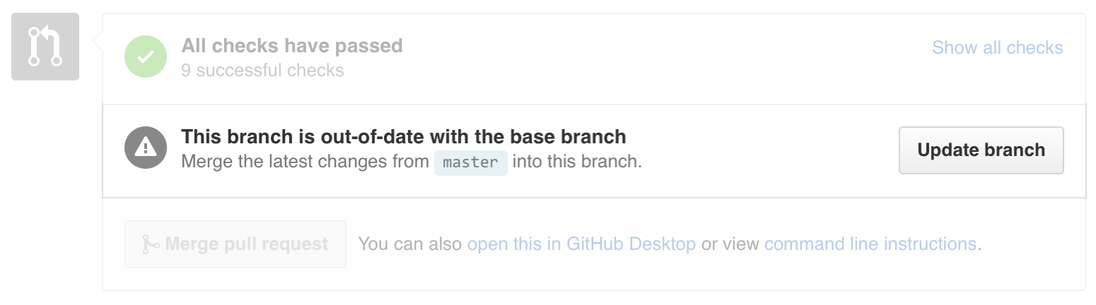 Pull Request merge area with Update branch button