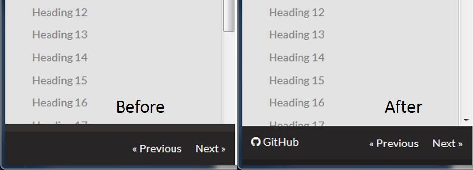mkdocs github update scrollbar