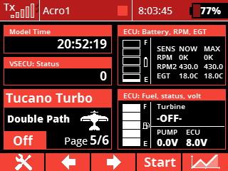 display - ecu battery and fuel indicators