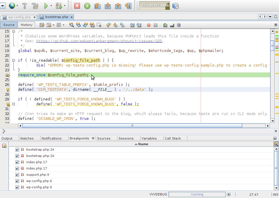 Debugging Editor - PHPUnit