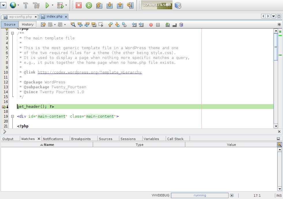 Debugging Editor - Web Running