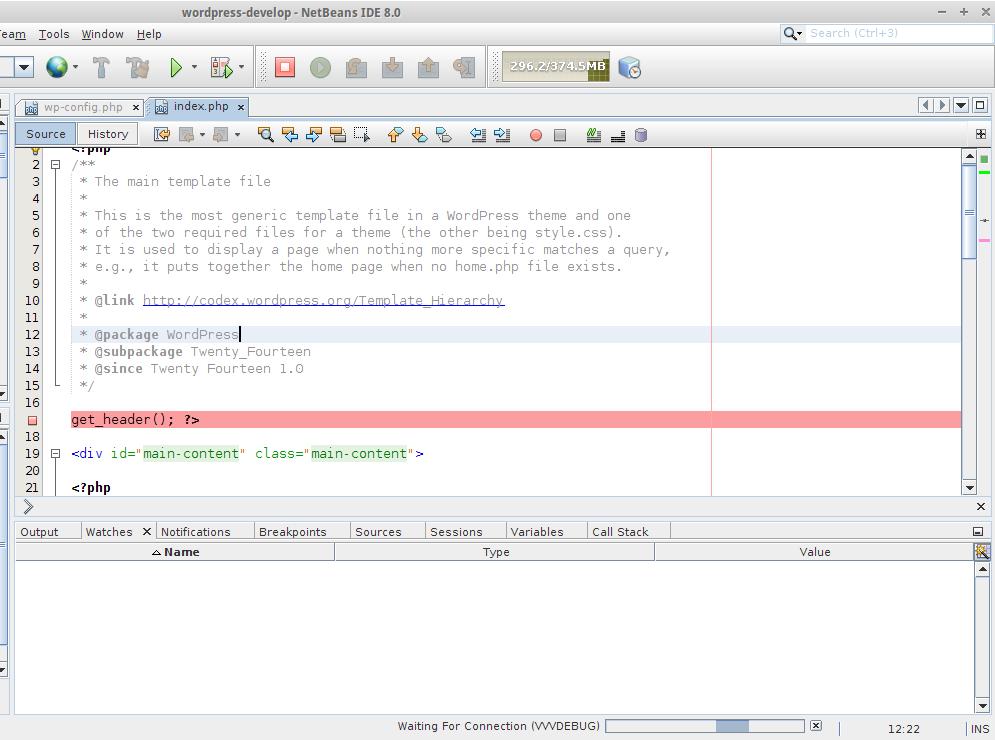 Debugging Editor - Web Waiting