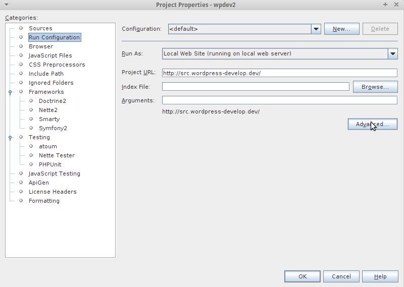 Run Configuration - Advanced