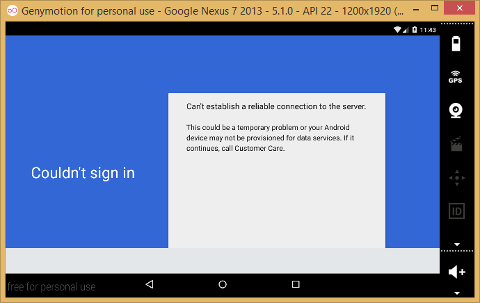Genymotion - google nexus 7 2013 - 5.1.0 - api 22