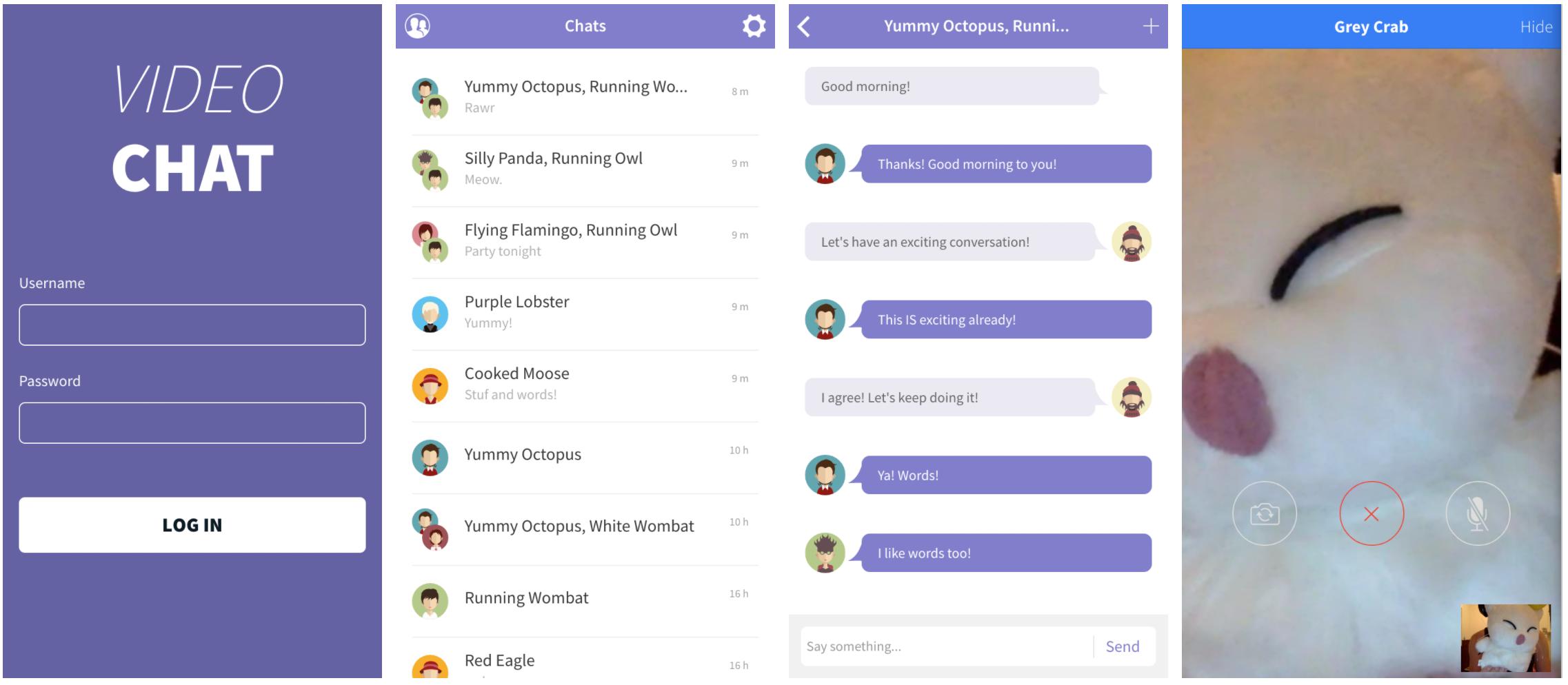Ionic VIdeo Chat App Screenshots