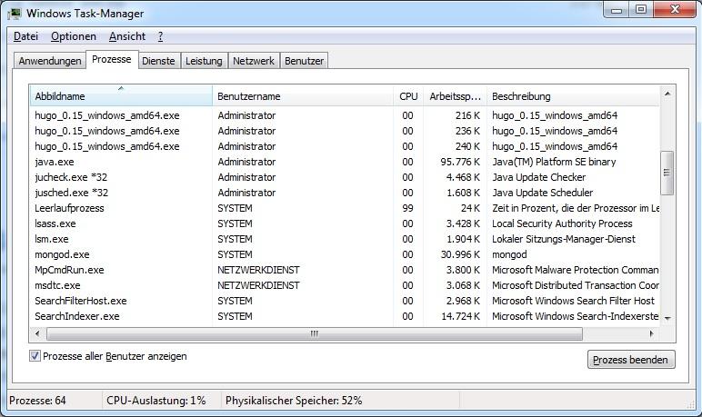 taskmanager on windows 7 enterprise 64bit sp1
