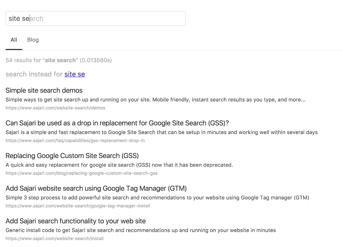 Search interface with tabs