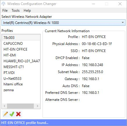 Wireless Configuration Changer Main Screen