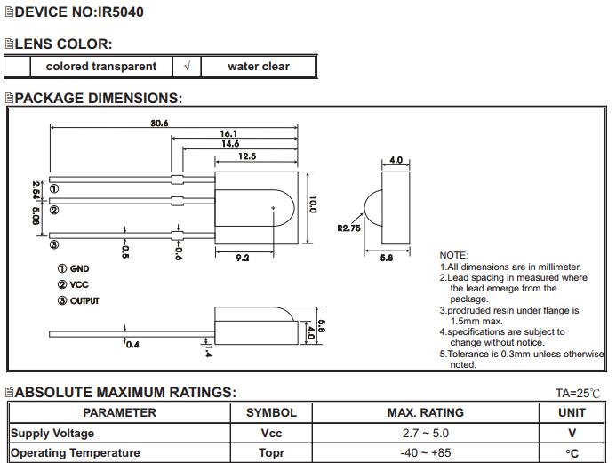 IR5040 datasheet (partial)