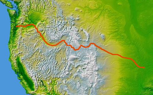 Oregon Trail Topo map NASA