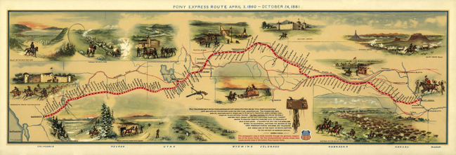 map of Pony Express route