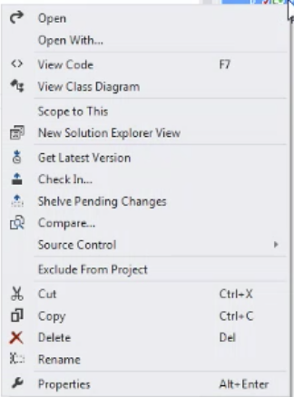 vs2013 file alt-click sol explorer