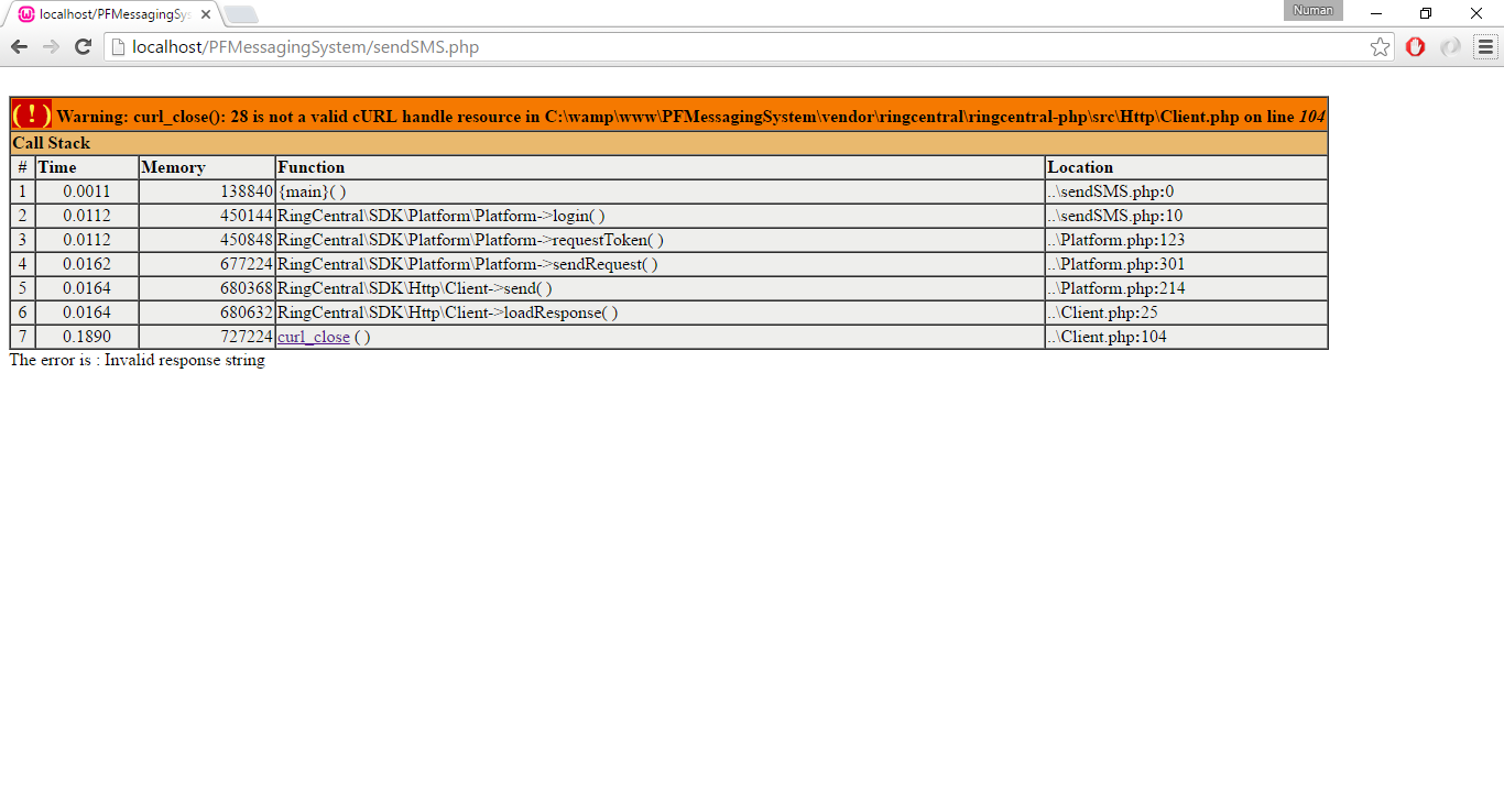 php sdk invalid respons string